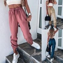 Moderne Einfarbige Lässige Hose mit Joher Taille