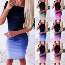 Modernes Kleid mit Farbverlauf Kurzen Ärmeln und Schlanker Passform