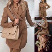 Stilvoller Anzugmantel mit Langen Ärmeln Revers Volltonfarbe und Schlanker Passform