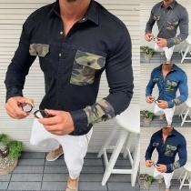 Modernes Jeanshemd für Herren mit Akzent mit Tarnmuster Langen Ärmeln und Polo-Kragen