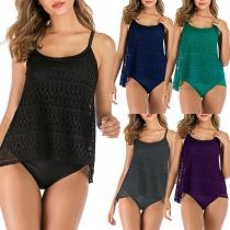 Sexy Badeanzug-Set in Volltonfarbe bestehend aus einem Top mit Freiem Rücken und Trägern + Slip