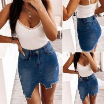 Moderner Jeansrock mit Hoher Taille Unregelmäßigem Saum und Schlanker Passform
