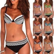 Sexy Bikini-Set mit Niedriger Taille und Schickem Muster