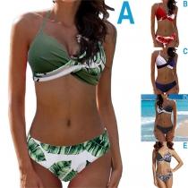 Sexy Bikini Set mit Gekreuztem Design Schnürhalter und Niedriger Taille