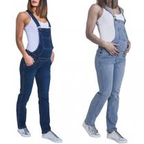 Moderne Latzhose aus Jeansstoff für Schwangere Frauen mit Hoher Taille
