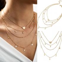 Moderne Mehrschichtige Halskette mit Stern- und Herzanhängern