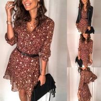Kleid im Frischen Stil mit Langen Ärmeln Kleid Schickem Muster und V-Ausschnitt(Ohne Gürtel)