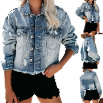 Moderne Jeansjacke mit Langen Ärmeln Polo-Kragen Rissen und Fransen am Saum