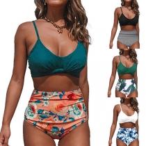 Sexy Bikini-Set mit Freiem Rücken Schickem Muster und Hoher Taille