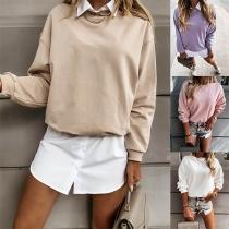 Modernes Sweatshirt mit Volltonfarbe Langen Ärmeln und Rundhalsausschnitt