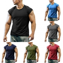 Schlichtes Ärmelloses Sport-T-Shirt für Herren mit Rundhalsausschnitt