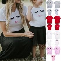 Niedliches T-Shirt für Mutter und Tochter mit Wimpernmotiv Kurzen Ärmeln und Rundhalsausschnitt