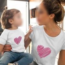 Modernes T-Shirt für Mutter und Tochter mit Herzmotiv Kurzen Ärmeln und Rundhalsausschnitt