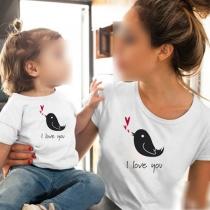 Niedliches T-Shirt für Mutter und Tochter mit Vogelmotiv Kurzen Ärmeln und Rundhalsausschnitt