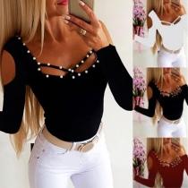 Sexy Top mit Freien Schultern Langen Ärmeln Quadratischem Kragen und Perlen