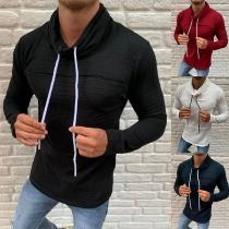 Modernes Sweatshirt für Herren mit Volltonfarbe Langen Ärmeln Hemd und Weitem Kragen