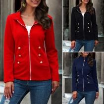 Moderne Jacke mit Volltonfarbe Langen Ärmeln und Stehkragen