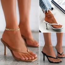 Modische Hochhackige Schuhe mit Bändchen
