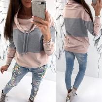 Modernes Sweatshirt mit Kontrastierenden Farben Langen Ärmeln und Weitem Kragen(Die Größe fällt klein aus)