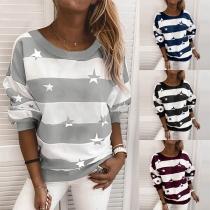 Modernes Sweatshirt mit Streifen Sternmuster Langen Ärmeln und Rundhalsausschnitt
