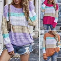 Modischer Pullover in Regenbogenfarben mit Langen Ärmeln und Rundhalsausschnitt