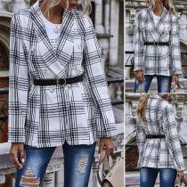 Stilvoller Karierter Blazer mit Langen Ärmeln und Zweireihigem Design