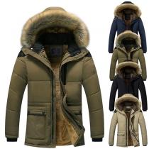 Moderne Gefütterte Jacke mit Volltonfarbe Langen Ärmeln und Kapuze mit Kunstpelz
