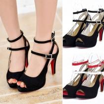 Sexy Hochhackige Schuhe in Kontrastierenden Farben und Freien Zehen
