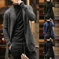 Moderne Strickjacke für Herren mit Gemischten Farben und Langen Ärmeln