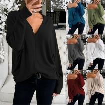 Modernes Lockeres Sweatshirt mit Volltonfarbe Langen Ärmeln und V-Ausschnitt