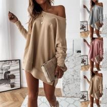 Modernes Sweatshirt mit Langen Ärmeln Volltonfarbe und Rundhalsausschnitt