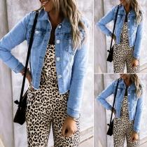 Moderne Jeansjacke mit Langen Ärmeln Polo-Kragen und Einreihigem Design