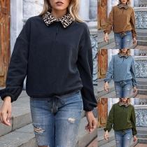 Modernes Sweatshirt aus Plüsch mit Langen Ärmeln und Stehkragen mit Leopardenmuster