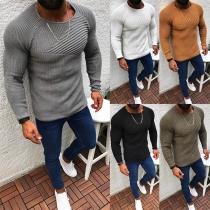 Einfacher Pullover für Herren mit Langen Ärmeln Rundhalsausschnitt und Volltonfarbe