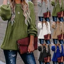Modischer Pullover mit Langen Ärmeln Volltonfarbe und Rundhalsausschnitt