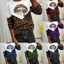 Modernes Sweatshirt mit Leopardenmuster Langen Ärmeln und Rundhalsausschnitt
