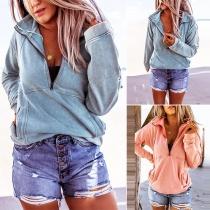 Modernes Sweatshirt mit Volltonfarbe Langen Ärmeln und Stehkragen