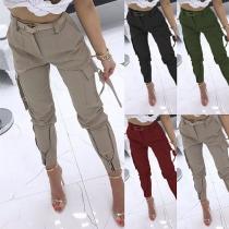 Moderne Hose mit Volltonfarbe Hoher Taille und Seitentaschen(Ohne Gürtel)