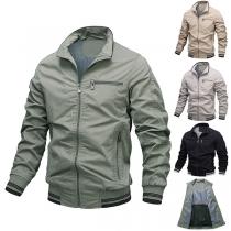 Moderne Jacke für Herren mit Volltonfarbe Langen Ärmeln und Stehkragen