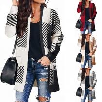 Fashion Long Sleeve Striped Spliced Long Sleeve Loose Knit Cardigan