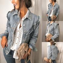 Moderne Jeansjacke mit Langen Ärmeln Polo-Kragen und Rüschen