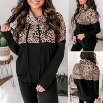Modernes Sweatshirt mit Leopardenmuster Langen Ärmeln Weitem Rollkragen