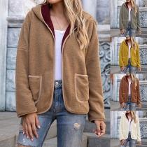 Moderne Jacke mit Volltonfarbe Langen Ärmeln und Kapuze