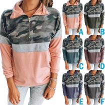 Modernes Sweatshirt mit Tarnmuster Langen Ärmeln und Stehkragen