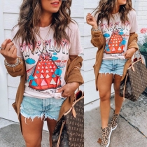 Cute Colorful Letters Printed Short Sleeve Round Neck T-shirt