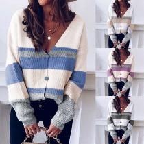Fashion Contrast Color Long Sleeve V-neck Knit Cardigan
