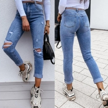 Fashion High Waist Slim Fit Ripped Jeans