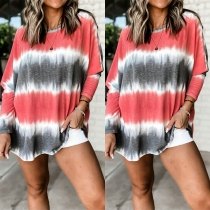 Fashion Long Sleeve Round Neck Tie-dye Printed Loose T-shirt