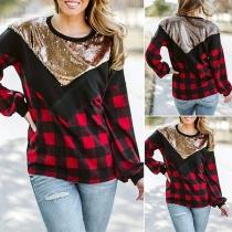 Modernes Sweatshirt mit Pailletten Langen Ärmeln Kariertem Design und Rundhalsausschnitt