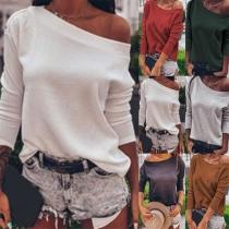 Modernes Sweatshirt mit Volltonfarbe Schräger Schulter und Langen Ärmeln